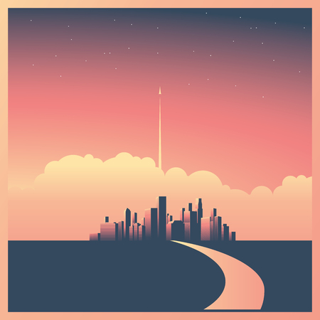 Modern corporate cityscape or skyline background with skyscrapers in sunset vector concept. Rocket or spaceship starting in background. Stock Illustratie