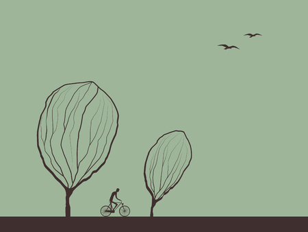 Autumn landscape hand drawn vector illustration with cyclist on bike trail between trees. Çizim
