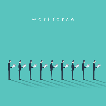 Business workforce vector illustration concept with businessmen doing menial repetitive job