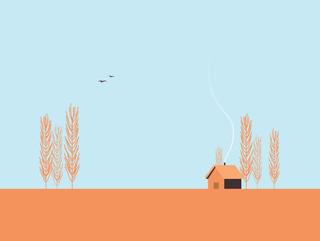 Autumn landscape vector illustration with poplar trees and cabin