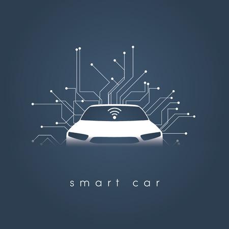 Smart or intelligent car vector concept
