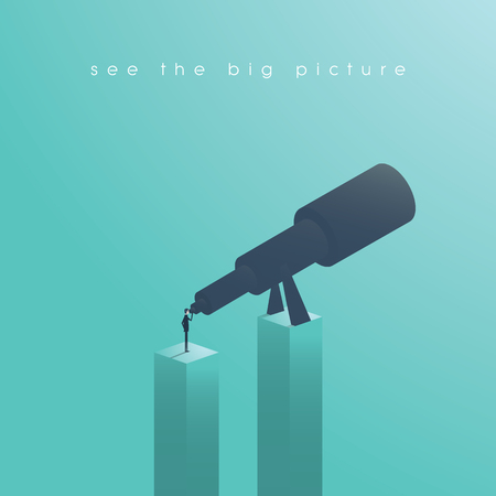 Vision concept in business with vector icon of businessman and telescope Stock Illustratie