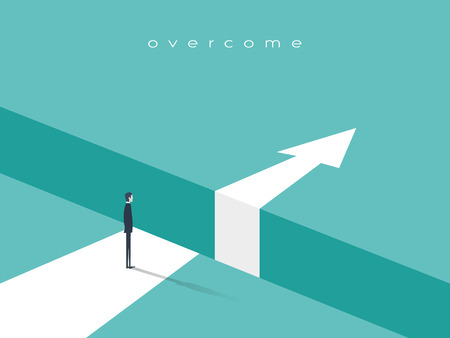 Business challenge or obstacle vector concept with businessman standing on the edge of gap, chasm with arrow going through. Concept of courage, bravery, risk. Vectores