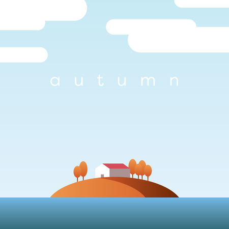 Autumn landscape vector concept with lake house on an island and orange trees with foliage in clear fall sky.
