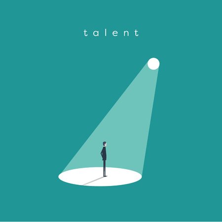 Business recruitment or hiring vector concept. Businessman standing in spotlight or searchlight as symbol of unique talent and skills.