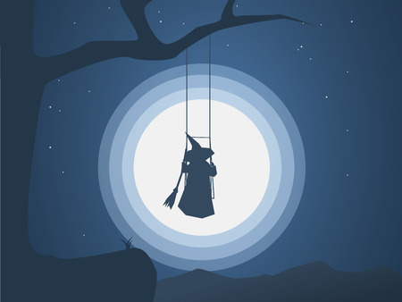 Halloween witch on a swing in front of moon under the tree vector illustration. Halloween costume for trick or treating on a spooky, dark night.