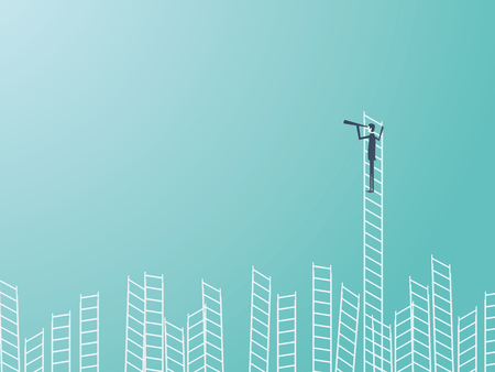 Businessman standing on top of a ladder with a telescope or monocular. Business leadership or visionary vector concept. Illustration