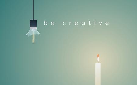 Creatief oplossings bedrijfs vectorconcept met gebroken lightbulb en kaars het lichte branden. Eenvoudige oplossing voor succes. Vector Illustratie