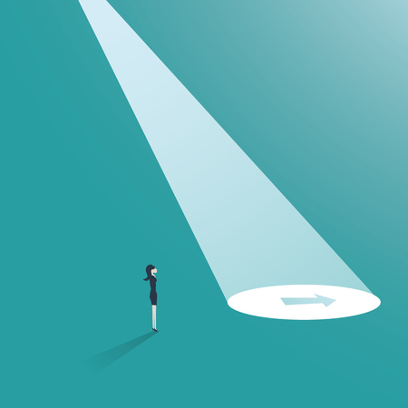 Business strategy or plan vector concept with arrow in spotlight. Business career decision, venture or investment opportunity, businessman as visionary. Иллюстрация