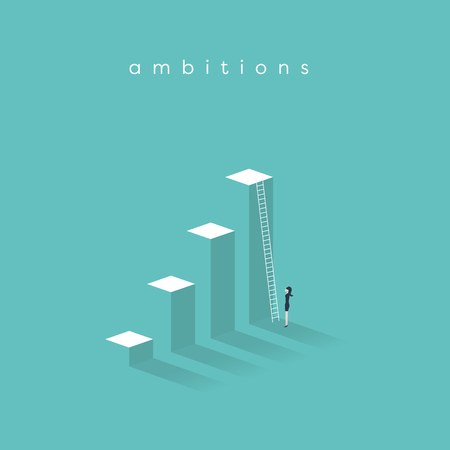 Business ambition, success and corporate ladder vector concept. Businesswoman standing in front of ladder trying to get promotion or to new opportunities. Illustration