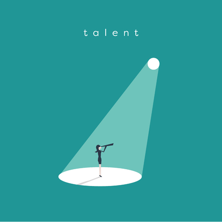 Business recruitment or hiring vector concept. Looking for talented leader, visionary. Businesswoman standing in spotlight or searchlight looking for new career opportunities.