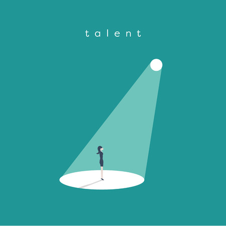 Business recruitment or hiring vector concept. Looking for talent. Businesswoman standing in spotlight or searchlight looking for new career opportunities.