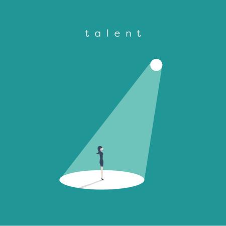 Concept de vecteur recrutement ou embauche d'entreprise. À la recherche de talent Femme d'affaires debout dans le feu des projecteurs ou à la recherche de nouvelles opportunités de carrière. Banque d'images - 85128228