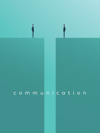 Business comunication or negotiation problems, issues. Two businessmen icons with gap between them. Illustration