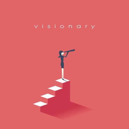Vision concept in business with vector icon of businesswoman and telescope, monocular. Symbol leadership, strategy, mission, objectives.vector illustration.