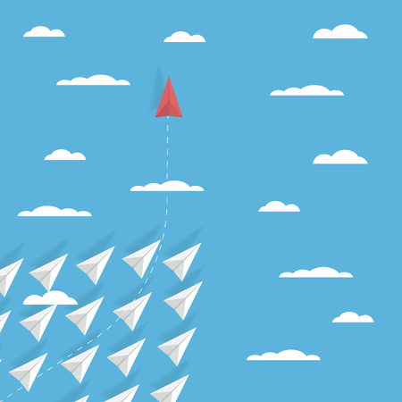 Business game changer concept vector with one paper plane flying in different direction than others. Revolutionary idea, brave leadership, unique solution symbol. Eps10 vector illustration.
