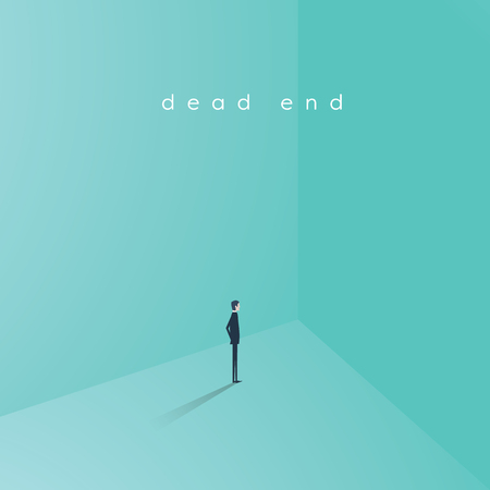 Business career dead end job vector concept. Businesswoman standing in corner as symbol of need for change, new opportunity, direction, challenge.