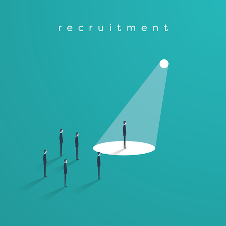 Recruitment or headhunting business concept vector with one businessman in spotlight as symbol of search for skillful and talented workers.