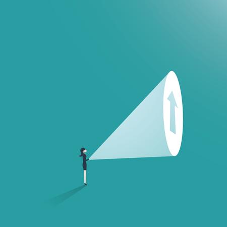 Geschäftsfrau-Ehrgeiz-Geschäftskonzeptvektor. Geschäftsfrau mit Taschenlampe und Pfeil oben als Symbol der Karriereförderung und -wachstums.