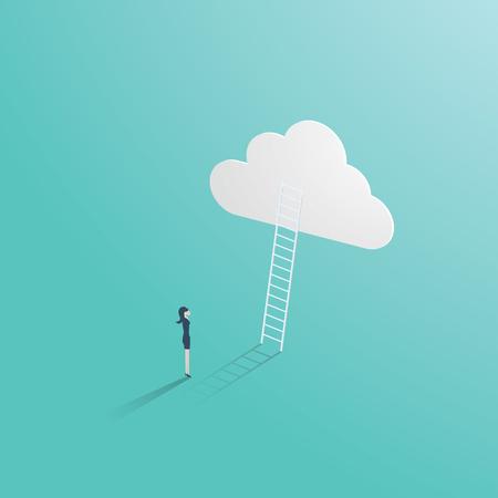 Concetto di vettore di successo di affari con l'uomo d'affari che sta davanti alla scala che porta fino alla nuvola. Simbolo di opportunità di carriera, ambizione, scala aziendale e crescita.