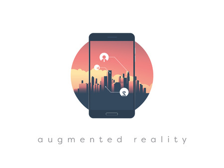 Augmented reality concept with smartphone screen and modern urban skyline, cityscape with skyscrapers in the background.