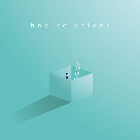 상자 밖에 서 생각 하여 솔루션을 찾기의 비즈니스 벡터 개념. 창조적 인 문제 해결, 장애 극복, 도전의 상징. Eps10 벡터 일러스트 레이 션입니다.