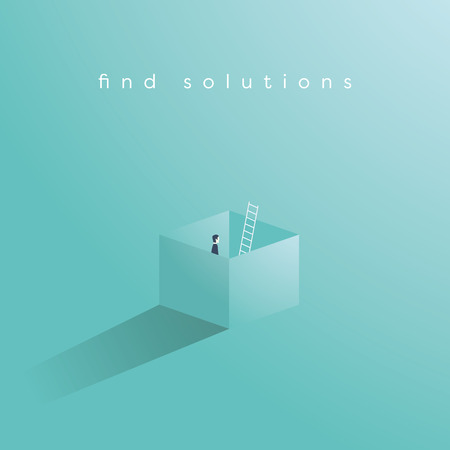 Business vector concept of finding solution by thinking outside the box. Creative problem solving, overcome obstacles, challenges symbol. Eps10 vector illustration. Çizim