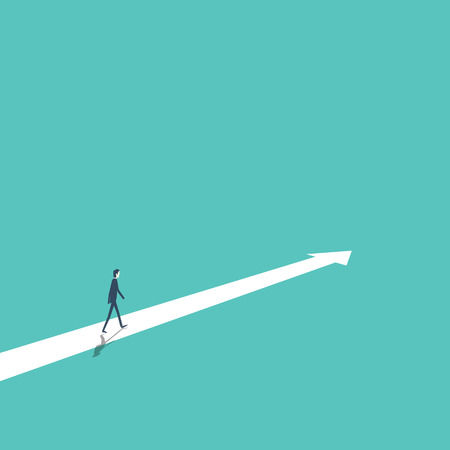 Business strategy, plan, decision, direction vector concept with businessman walking forward to success and growth.