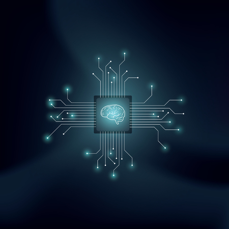 Artificial intelligence or AI vector concept with human brain on technological back drop. Symbol of machine learning, neural networks, programming, futuristic technology concept.