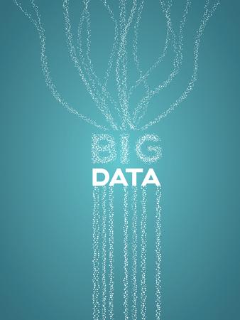 선 및 점 데이터 흐름, 수집 및 분석을 나타내는 큰 데이터 시각화 개념. 일러스트