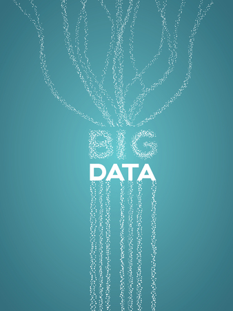 Big data visualization concept with lines and dots representing data flow, collection and analysis. Illustration