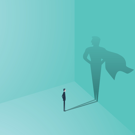 Businessman with superhero shadow concept. Business symbol of ambition, success, motivation, leadership, courage and challenge.. Illustration