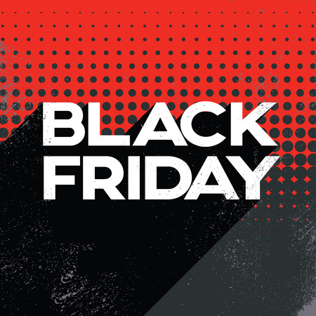 Black friday sale poster banner template with long shadow retro typography text and polka dot