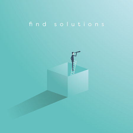 Think outside the box business concept vector with businessman standing on ladder in a box and looking through monoscope as symbol of vision, goal, objective, strategy. Stock fotó