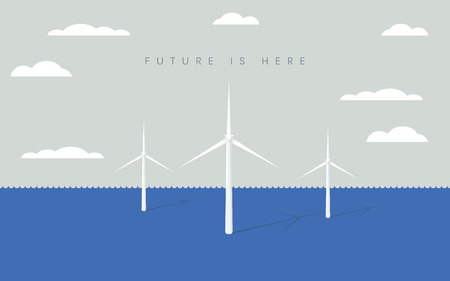 洋上風力発電ファーム ベクトル記号と風車。再生可能エネルギー、電気、力のシンボルです。