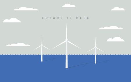 Offshore windpark vector symbool met windturbines. Symbool van hernieuwbare energie, elektriciteit, kracht. Stockfoto