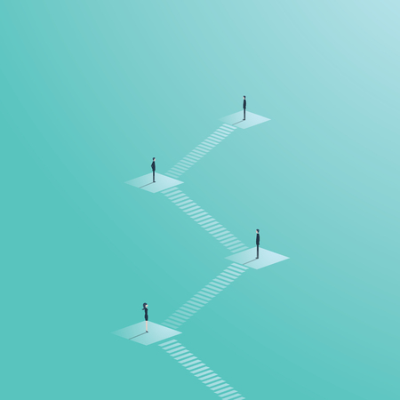 Business gender inequality vector concept with businessman and businesswoman on career corporate ladder. Eps10 vector illustration.