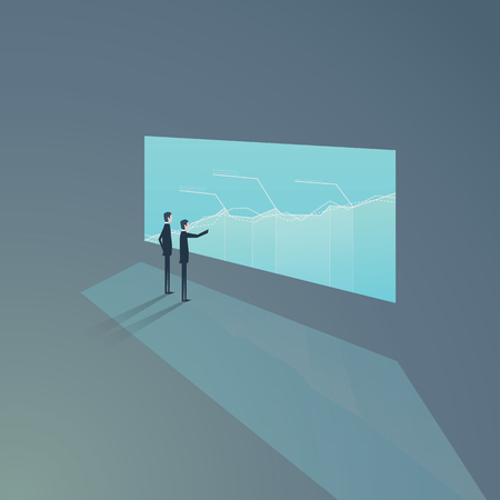 Two businessmen standing in front of screen with graphs, charts. Vector concept of business analysis and teamwork. eps10 vector illustration. Vettoriali
