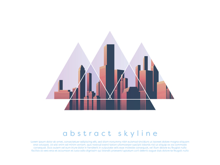 Cityscape or skyline of modern corporate city center within geometric shape as symbol of modern business global corporations. Eps10 vector illustration.