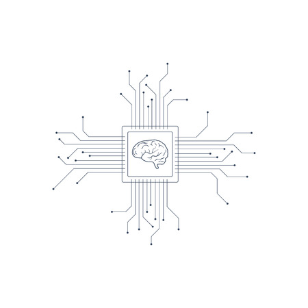 Vector el cerebro humano de la placa de circuito impreso. Ilustración del concepto de inteligencia artificial de la CPU en el centro del sistema informático. Ilustración de vector Eps10. Ilustración de vector