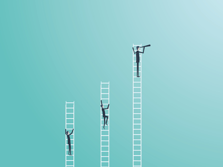 Business competition vector concept with three businessmen climbing on ladders and one winner. Symbol of business success, ambition, motivation. Eps10 vector illustration.