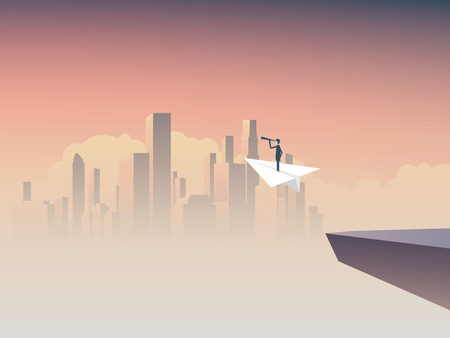 Business visionary flying on paper plane vector concept with cityscape background. Symbol of business vision, strategy, plan, ambition, motivation. Eps10 vector illustration.