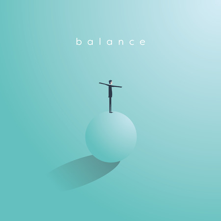Balance concept in business vector. Symbol of work life balance, stability, success and challenge. Eps10 vector illustration.