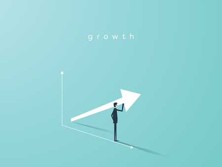 Business growth vector concept with upward arrow graph and businessman symbol. Symbol of success, achievement.
