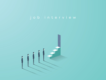 Business vector concept of recruitment, job interview, hiring. Candidates standing in line, waiting.
