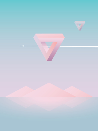 Beautiful abstract vector landscape background wallpaper with inverted triangle in the sky. Space scenery Çizim