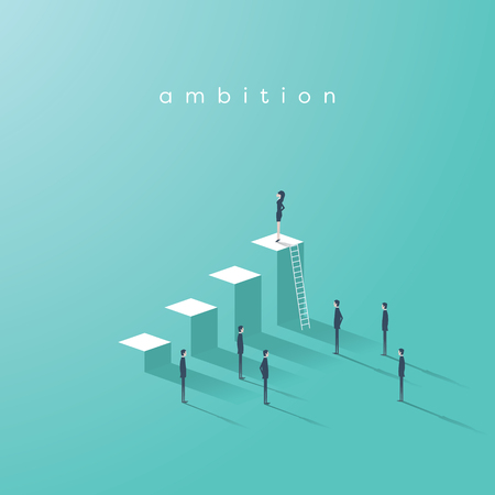 Business Woman Ambition And Leadership Vector Concept Businesswoman