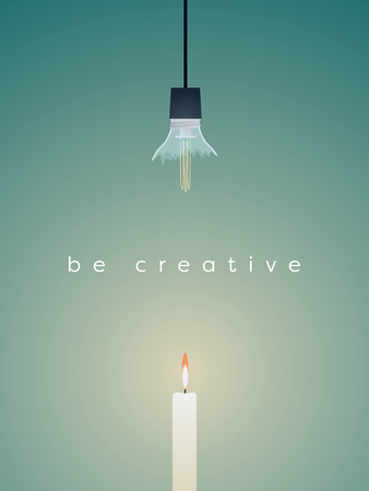 Business vector concept finding creative solution. Broken lightbulb versus candle, simple solution, keep it simple.