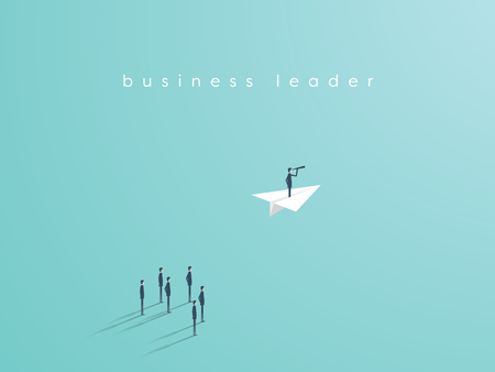 Business leadership concept with businessman flying on a paper plane as symbol of success, ambition, inspiration. Eps10 vector illustration.