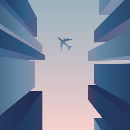 Skyscrapers view up from the street with plane flying in the sky. Business abstract vector background for corporate, financial marketing. Eps10 vector illustration.